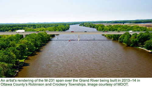 Artist's rendering of the M-231 bridge over the Grand RIver.