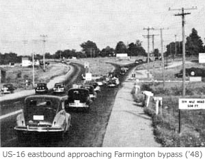 US-16 eastbound approaching Farmington Bypass, 1948