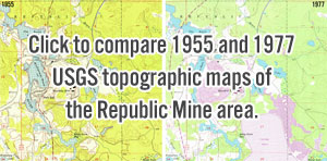 M-95 Republic mine bypass USGS Topographic map comparison 1955 1977
